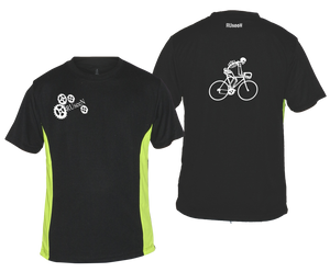 ruseen running bike skeleton mens performance tee black lime