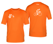 Load image into Gallery viewer, ruseen running bike skeleton mens performance tee orange