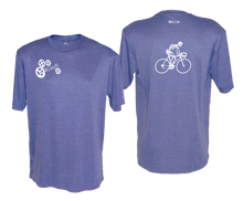 Load image into Gallery viewer, ruseen running bike skeleton mens performance tee royal heather