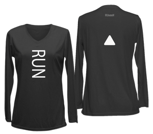 ruseen running women's reflective long sleeve performance tee black