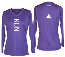 Load image into Gallery viewer, ruseen running women's reflective long sleeve performance tee purple