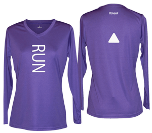 ruseen running women's reflective long sleeve performance tee purple
