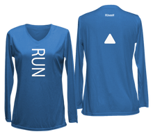 Load image into Gallery viewer, ruseen running women's reflective long sleeve performance tee blue