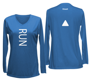ruseen running women's reflective long sleeve performance tee blue