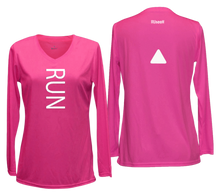 Load image into Gallery viewer, ruseen running women's reflective long sleeve performance tee pink