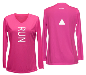 ruseen running women's reflective long sleeve performance tee pink
