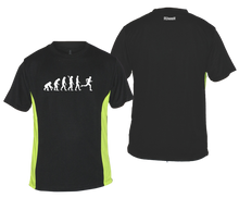 Load image into Gallery viewer, ruseen running evolution of a runner mens performance tee black lime