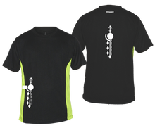 Load image into Gallery viewer, ruseen running mens paths reflective moisture wicking tee black lime