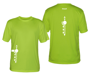 ruseen running mens paths reflective moisture wicking tee lime