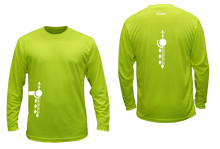 Load image into Gallery viewer, ruseen running mens long sleeve performance tee lime paths