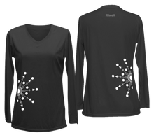 Load image into Gallery viewer, ruseen running women's reflective long sleeve performance shirt black