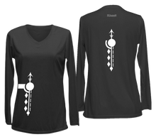 Load image into Gallery viewer, women's long sleeve reflective shirt paths black