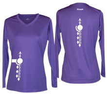 Load image into Gallery viewer, women's long sleeve reflective shirt paths purple