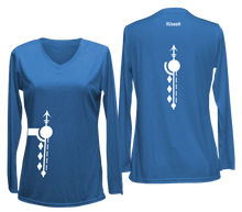 Load image into Gallery viewer, women's long sleeve reflective shirt paths blue