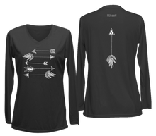 Load image into Gallery viewer, ruseen womens long sleeve performance arrows black