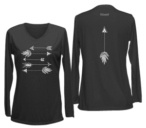 ruseen womens long sleeve performance arrows black