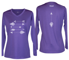 Load image into Gallery viewer, ruseen womens long sleeve performance arrows purple