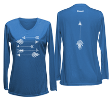 Load image into Gallery viewer, ruseen womens long sleeve performance arrows blue