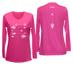 ruseen womens long sleeve performance arrows pink