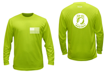 Load image into Gallery viewer, ruseen running pow-mia mens long sleeve american tee lime yellow
