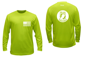 ruseen running pow-mia mens long sleeve american tee lime yellow