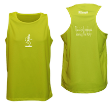 Load image into Gallery viewer, ruseen running pain is weakness mens fitness tank lime yellow