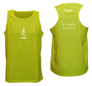 ruseen running pain is weakness mens fitness tank lime yellow