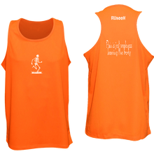 Load image into Gallery viewer, ruseen running pain is weakness mens fitness tank orange