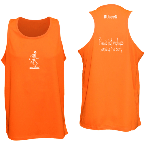 ruseen running pain is weakness mens fitness tank orange