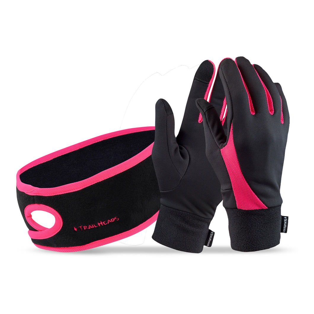 trailheads Pony Headband and Elements Gloves Set Women's black and coral