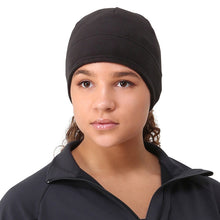 Load image into Gallery viewer, trailheads microfleece ponytail running beanie women's black