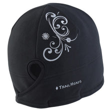 Load image into Gallery viewer, trailheads microfleece ponytail running beanie women's black swirl
