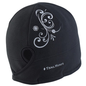trailheads microfleece ponytail running beanie women's black swirl
