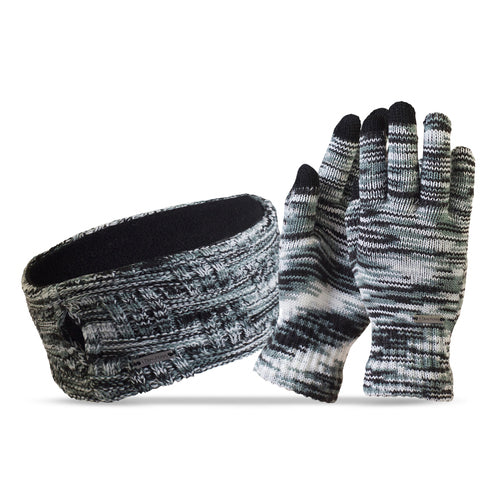 trailheads space dye running glove and headband combo women's black grey white