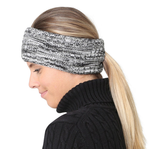 trailheads space dye knit running pony headband women's black and white
