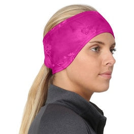 trailheads print pony women's running headband pink splash