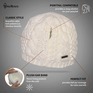 trailheads cable knit ponytail running beanie women's feature list