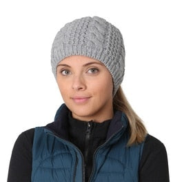 trailheads cable knit ponytail running beanie women's grey