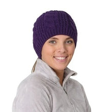 Load image into Gallery viewer, trailheads cable knit ponytail running beanie women's purple