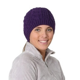 trailheads cable knit ponytail running beanie women's purple
