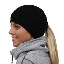 Load image into Gallery viewer, trailheads cable knit ponytail running beanie women's black