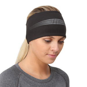 TRAILHEADS ADRENALINE SERIES WOMEN'S PERFORMANCE PONYTAIL HEADBAND - BLACK / REFLECTIVE front