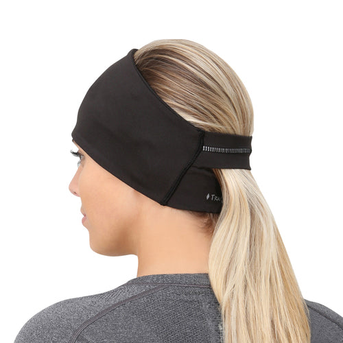 TRAILHEADS ADRENALINE SERIES WOMEN'S PERFORMANCE PONYTAIL HEADBAND - BLACK