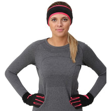 Load image into Gallery viewer, woman wearing trailheads Pony Headband and Elements Gloves Set Women's black and coral