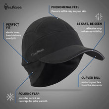 Load image into Gallery viewer, trailheads trailblazer adventure fleece running hat men's black feature list