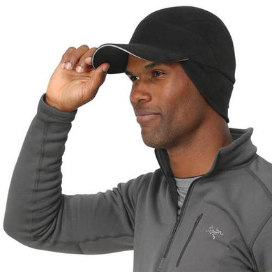 trailheads trailblazer adventure fleece running hat man with hand on bill
