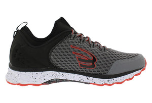 spira phoenix men's running shoe charcoal / black / red inside