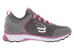 spira women's phoenix running shoe charcoal / berry / white right side