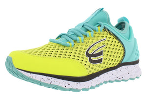 spira phoenix women's running shoe yellow teal black outside