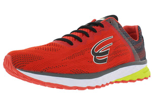 spira vento mens running shoe red/charcoal/black left side